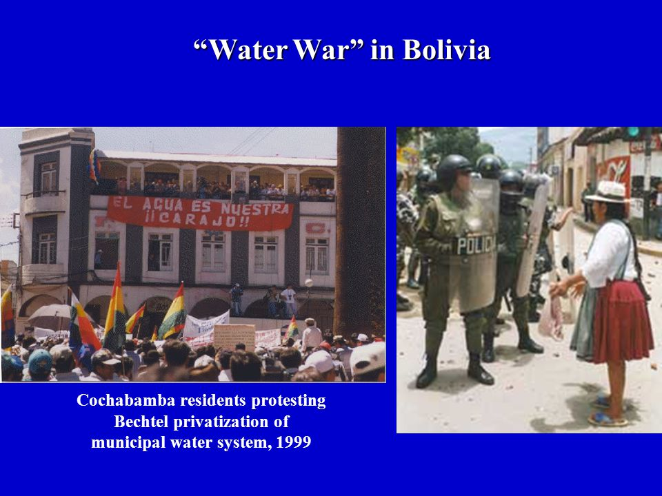 """Water War"" in Bolivia Cochabamba residents protesting Bechtel privatization of municipal water system, 1999"