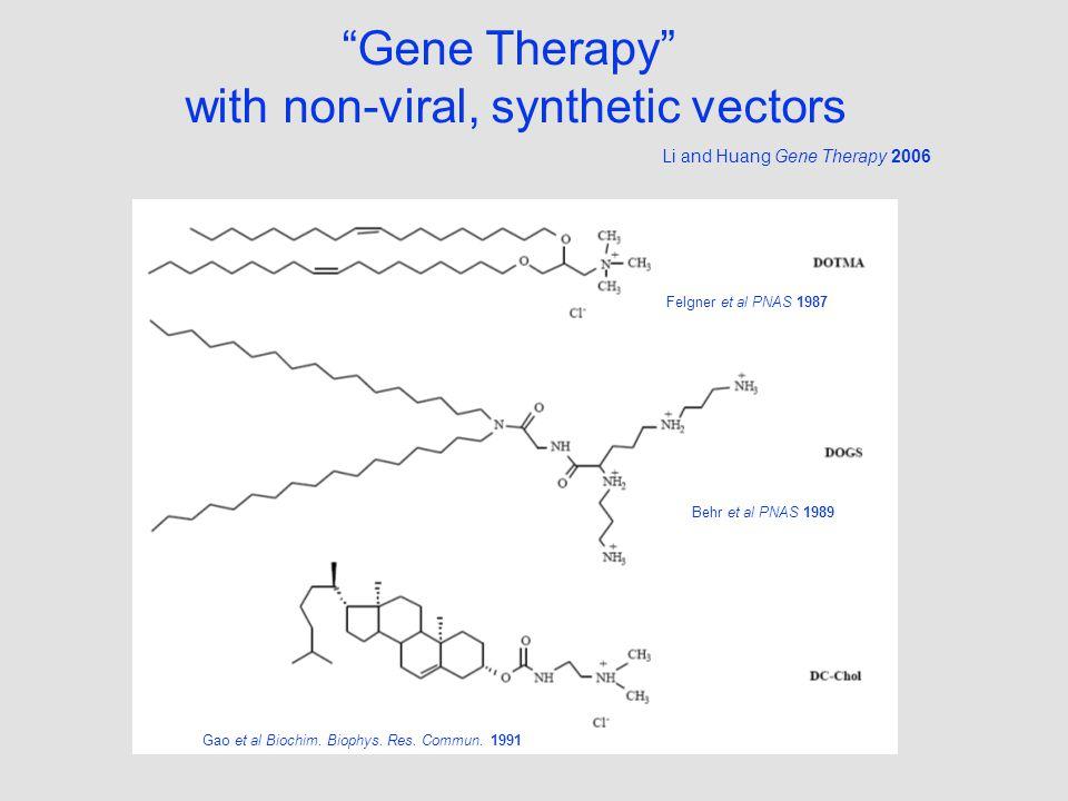 Gene Therapy with non-viral, synthetic vectors Felgner et al PNAS 1987 Behr et al PNAS 1989 Gao et al Biochim.