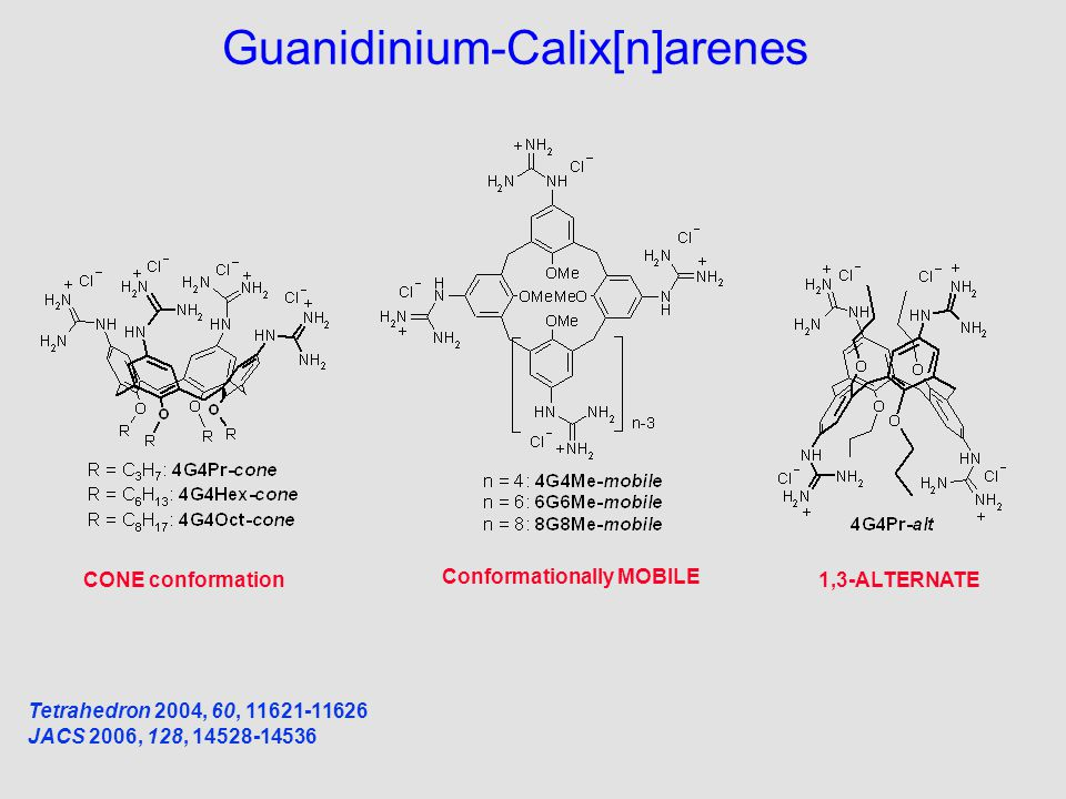 Guanidinium-Calix[n]arenes Tetrahedron 2004, 60, 11621-11626 JACS 2006, 128, 14528-14536 CONE conformation Conformationally MOBILE 1,3-ALTERNATE