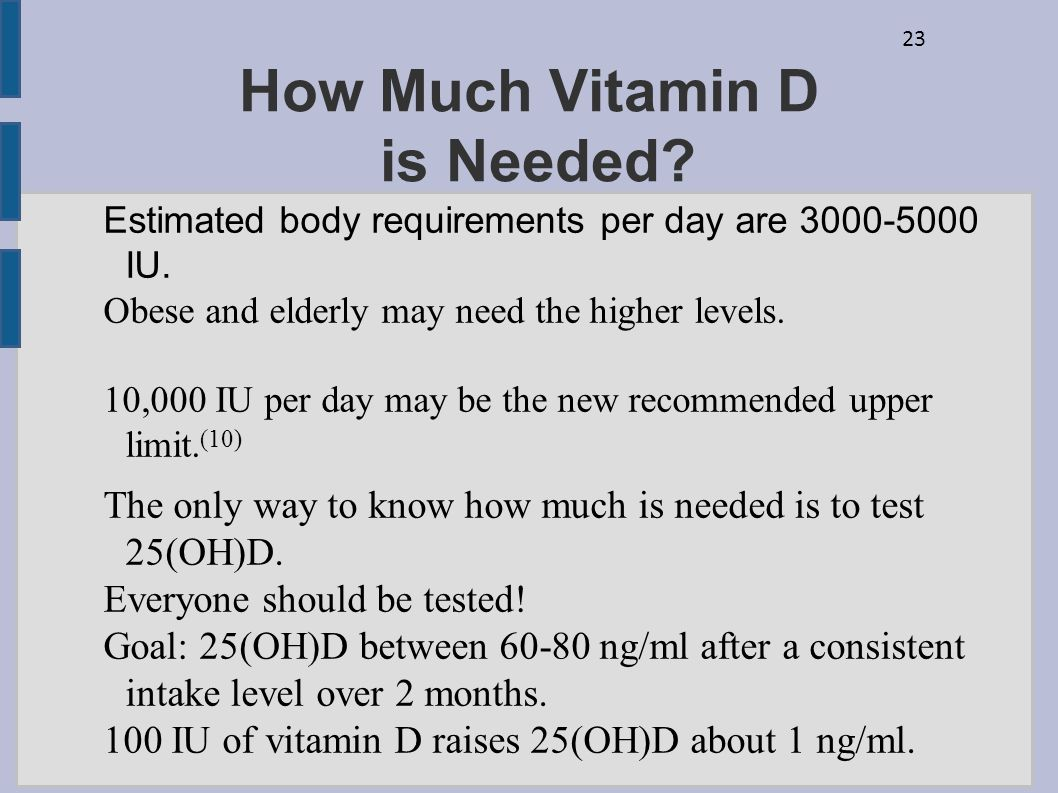 23 How Much Vitamin D is Needed? Estimated body requirements per day are 3000-5000 IU. Obese and elderly may need the higher levels. 10,000 IU per day