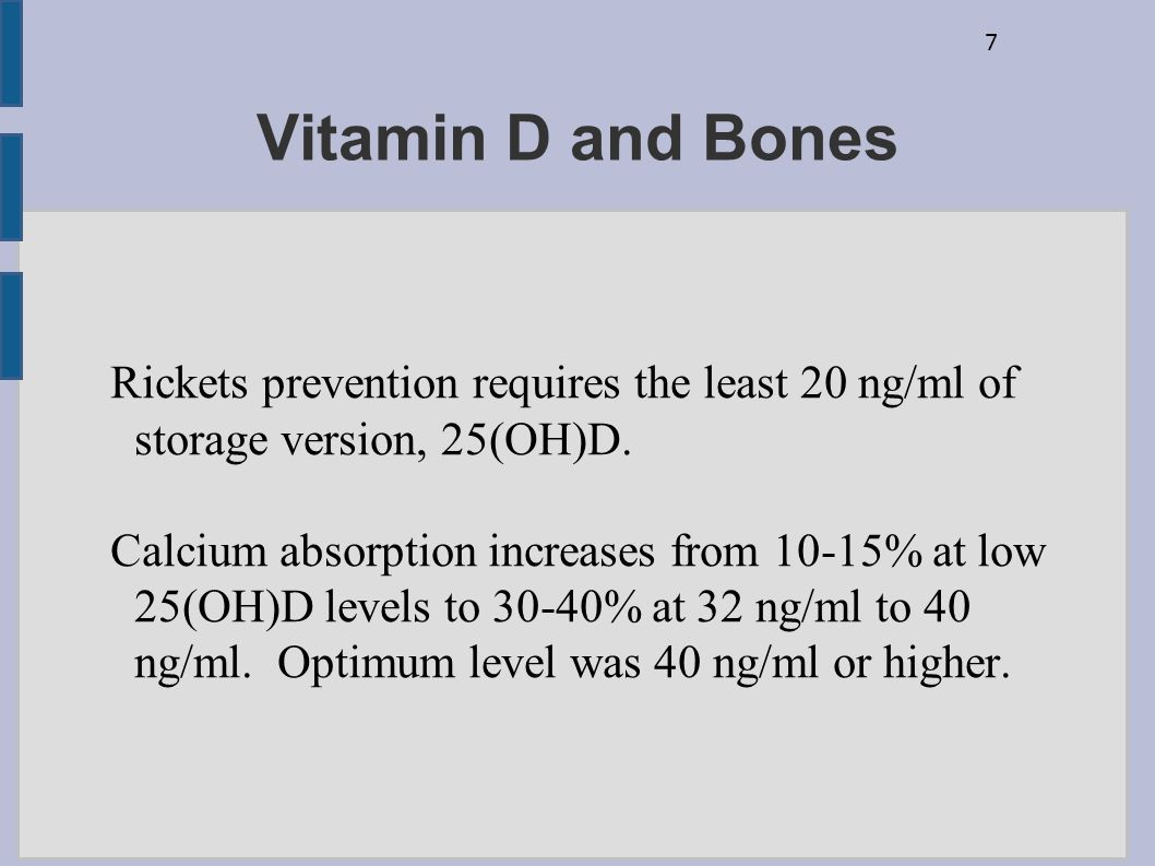 7 Vitamin D and Bones Rickets prevention requires the least 20 ng/ml of storage version, 25(OH)D. Calcium absorption increases from 10-15% at low 25(O