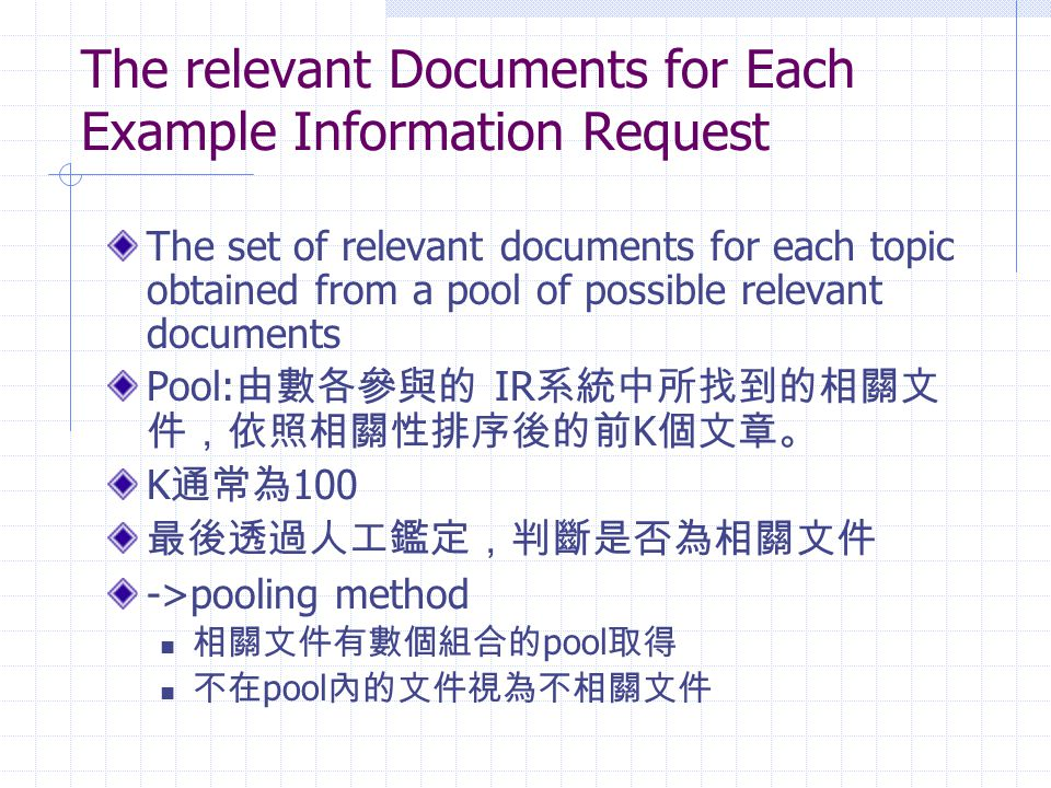 The relevant Documents for Each Example Information Request The set of relevant documents for each topic obtained from a pool of possible relevant doc