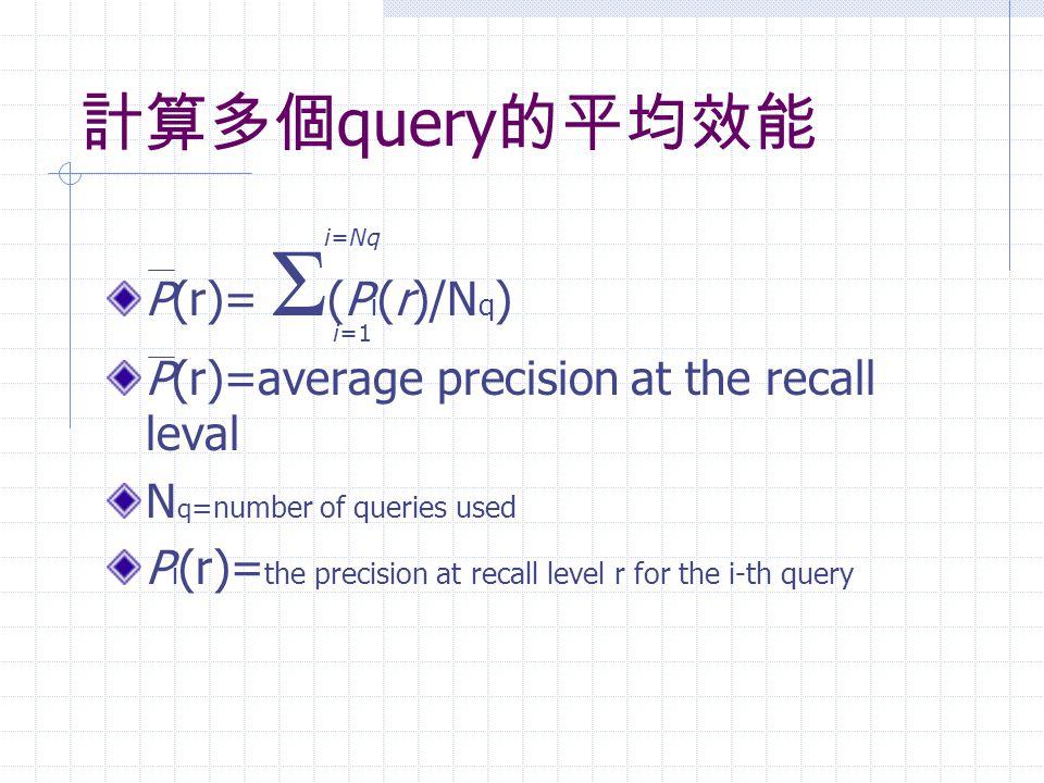 計算多個 query 的平均效能 P(r)= Σ (P i (r)/N q ) P(r)=average precision at the recall leval N q =number of queries used P i (r)= the precision at recall level r for the i-th query i=1 i=Nq