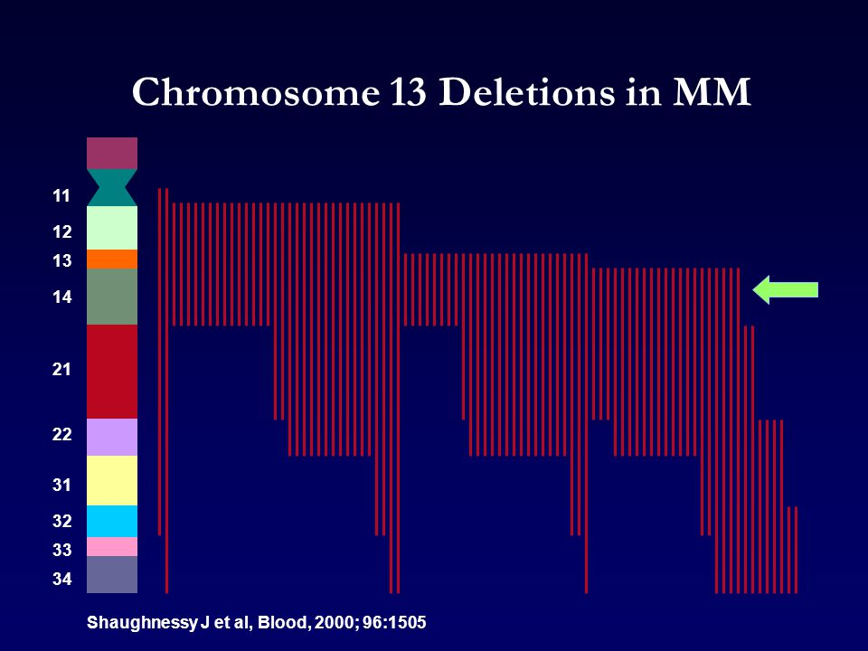 Chromosome 13 Deletions in MM Shaughnessy J et al, Blood, 2000; 96:1505 12 11 13 21 14 32 31 22 34 33