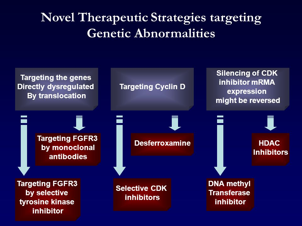 Silencing of CDK inhibitor mRMA expression might be reversed Targeting Cyclin D Targeting the genes Directly dysregulated By translocation HDAC Inhibitors DNA methyl Transferase inhibitor Novel Therapeutic Strategies targeting Genetic Abnormalities Desferroxamine Selective CDK inhibitors Targeting FGFR3 by monoclonal antibodies Targeting FGFR3 by selective tyrosine kinase inhibitor