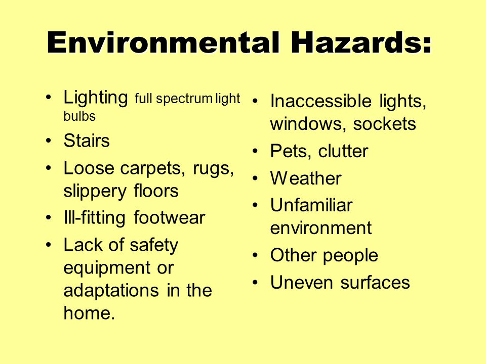 Environmental Hazards: Lighting full spectrum light bulbs Stairs Loose carpets, rugs, slippery floors Ill-fitting footwear Lack of safety equipment or adaptations in the home.