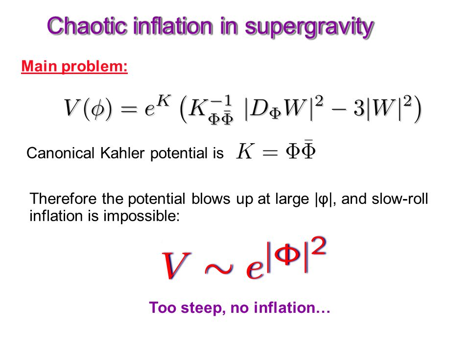 Chaotic inflation in supergravity Main problem: Canonical Kahler potential is Therefore the potential blows up at large |φ|, and slow-roll inflation i