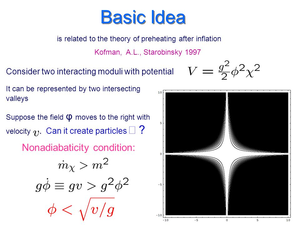 Basic Idea Consider two interacting moduli with potential Suppose the field φ moves to the right with velocity.