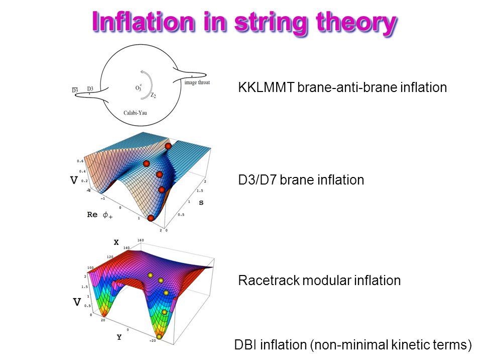 Inflation in string theory KKLMMT brane-anti-brane inflation Racetrack modular inflation D3/D7 brane inflation DBI inflation (non-minimal kinetic term