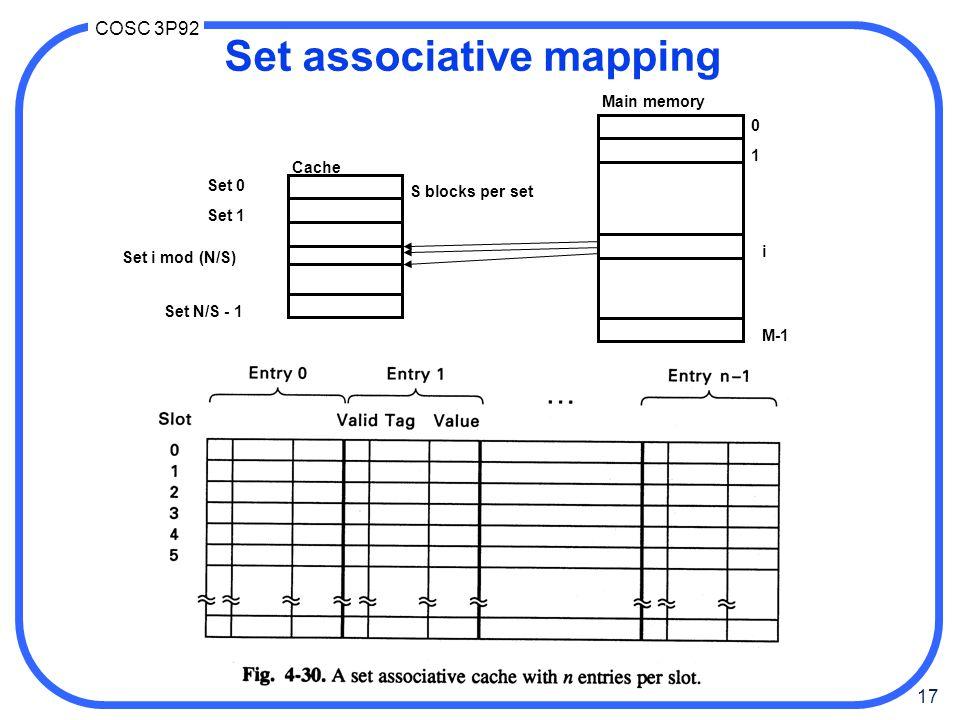 17 COSC 3P92 Set associative mapping 0 1 i M-1 Set 0 Set 1 Set N/S - 1 Cache Main memory Set i mod (N/S) S blocks per set