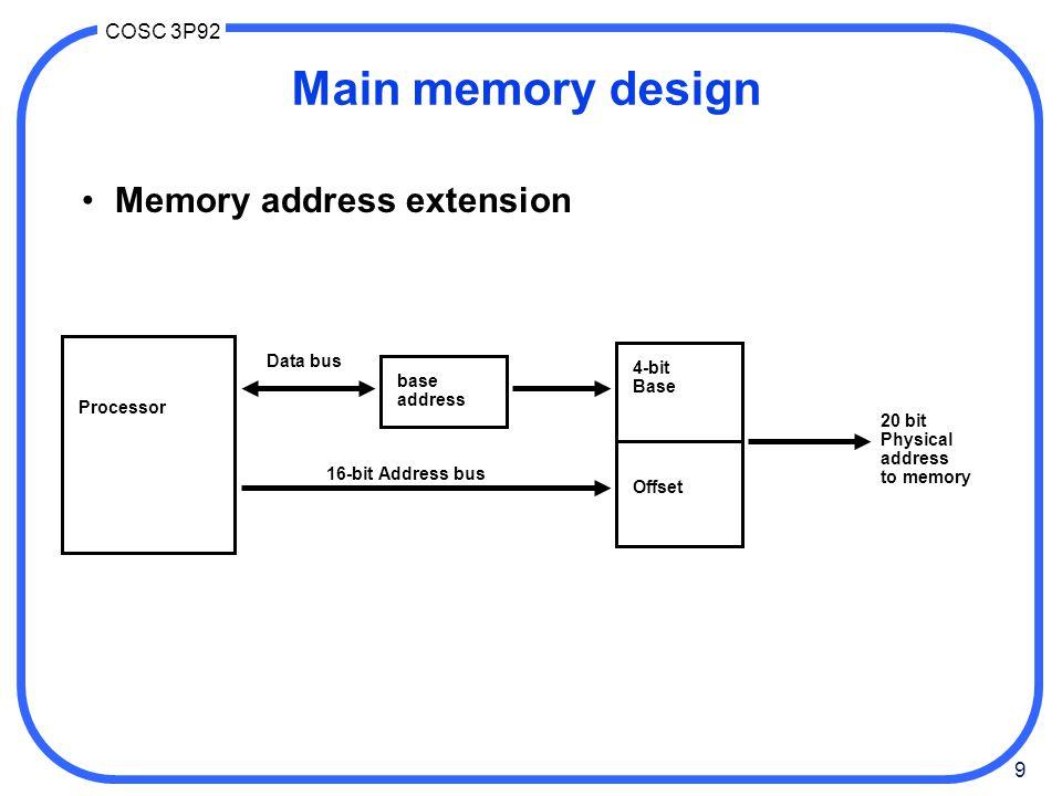 9 COSC 3P92 Processor Data bus base address 4-bit Base 16-bit Address bus Offset 20 bit Physical address to memory Main memory design Memory address e