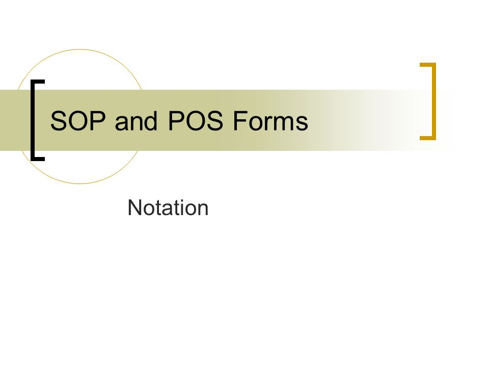 Notation SOP and POS Forms