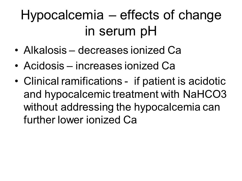 Key points Main risk of IV Mg is giving to azotemia patients and development of hypermagnesemia Main risk of IV P is binding to serum Ca causing hypocalcemia, usually with prolonged infusions not adequately followed Main risk of IV Ca - infiltration of vein and tissue necrosis, especially with calcium chloride If hypocalcemia consider may also be low [Mg] If hypokalemia consider may also be low [Mg] Hypermagnesemia – inhibit effects with IV Ca