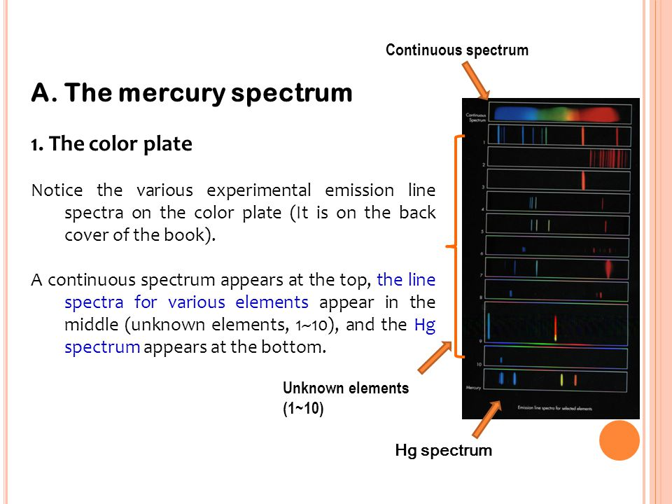 - Calibration of spectroscope Calibration is accomplished by viewing the emission spectrum of mercury.
