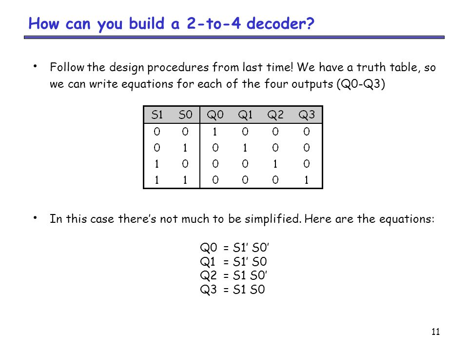 11 How can you build a 2-to-4 decoder.Follow the design procedures from last time.