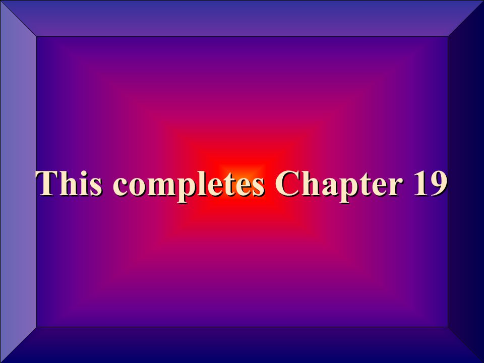 Copyright © 2004 by The McGraw-Hill Companies, Inc. All rights reserved. 19 - 25 This completes Chapter 19