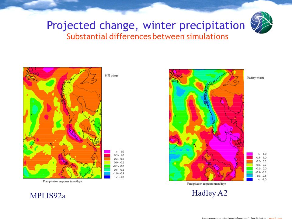 Norwegian Meteorological Institute met.no Projected change, winter precipitation Substantial differences between simulations MPI IS92a Hadley A2