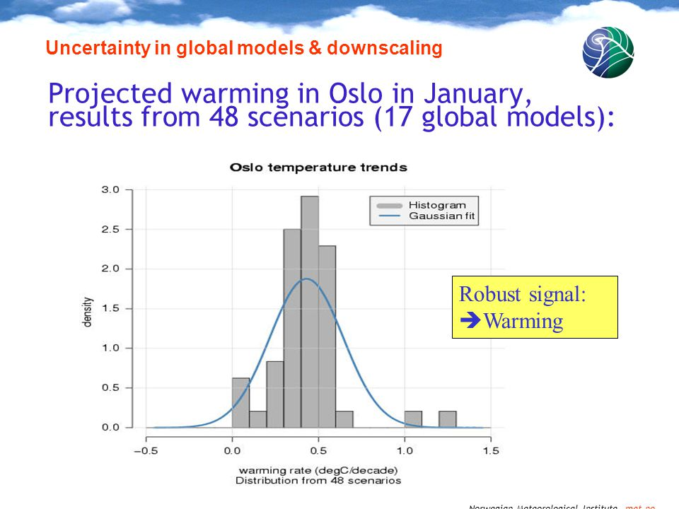 Norwegian Meteorological Institute met.no Projected warming in Oslo in January, results from 48 scenarios (17 global models): Uncertainty in global models & downscaling Robust signal:  Warming