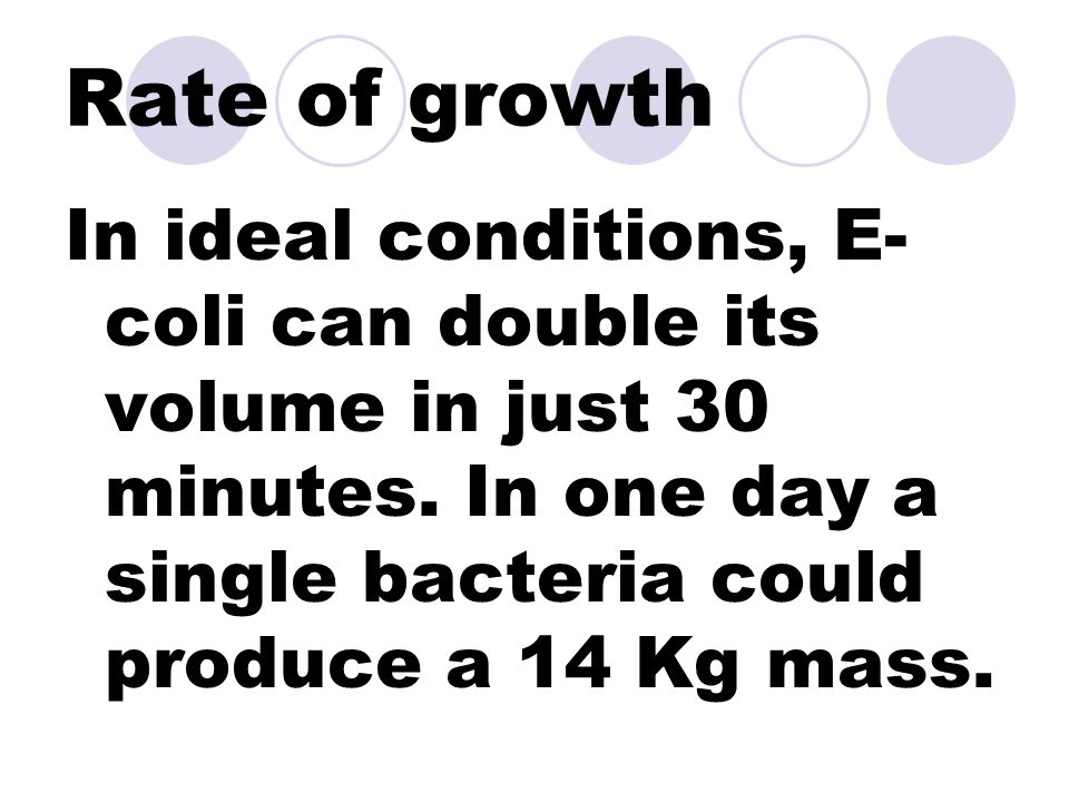 Rate of growth In ideal conditions, E- coli can double its volume in just 30 minutes.