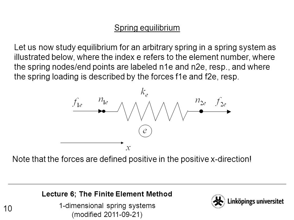 Lecture 6; The Finite Element Method 1-dimensional spring systems (modified 2011-09-21) 10 Spring equilibrium Let us now study equilibrium for an arbi