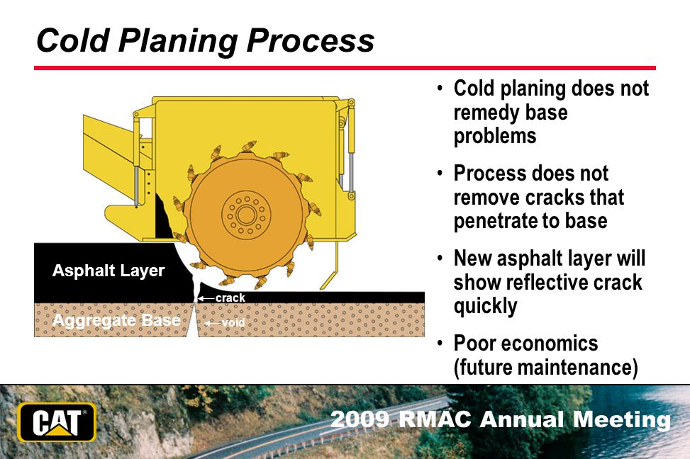 2009 RMAC Annual Meeting Cold Planing Process Cold planing does not remedy base problems Process does not remove cracks that penetrate to base New asp