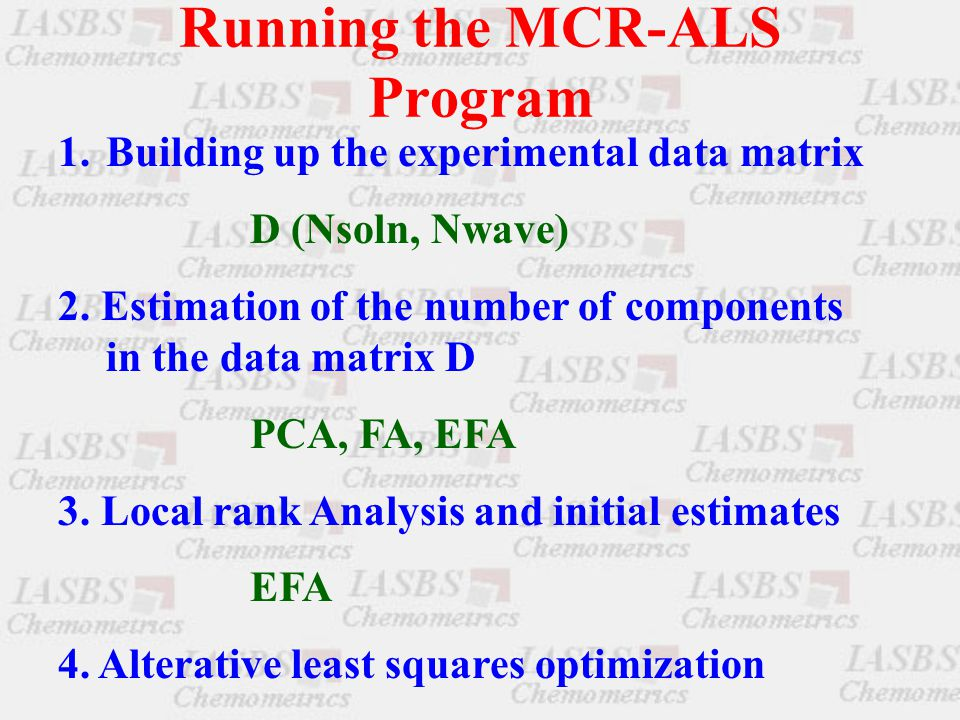 Running the MCR-ALS Program 1.Building up the experimental data matrix D (Nsoln, Nwave) 2.