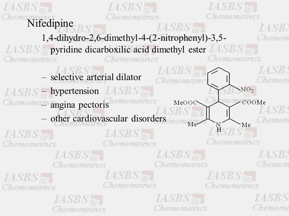 Nifedipine 1,4-dihydro-2,6-dimethyl-4-(2-nitrophenyl)-3,5- pyridine dicarboxilic acid dimethyl ester –selective arterial dilator –hypertension –angina pectoris –other cardiovascular disorders
