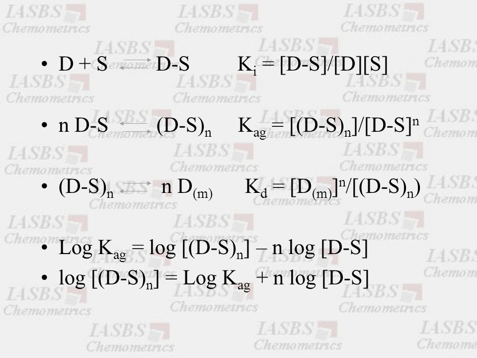 D + S D-S K i = [D-S]/[D][S] n D-S (D-S) n K ag = [(D-S) n ]/[D-S] n (D-S) n n D (m) K d = [D (m) ] n /[(D-S) n ) Log K ag = log [(D-S) n ] – n log [D-S] log [(D-S) n ] = Log K ag + n log [D-S]