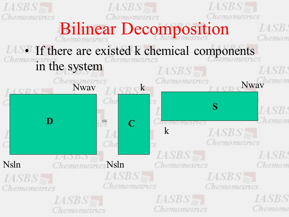 Bilinear Decomposition If there are existed k chemical components in the system D= C S Nwav Nsln k Nwav k