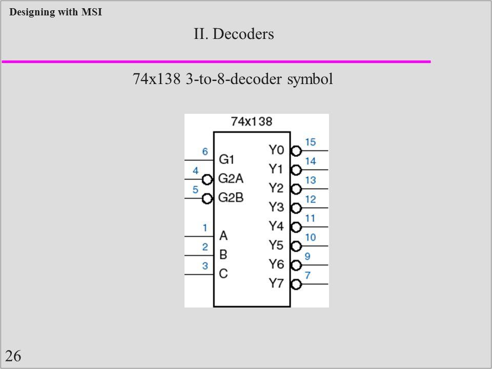 26 Designing with MSI II. Decoders 74x138 3-to-8-decoder symbol