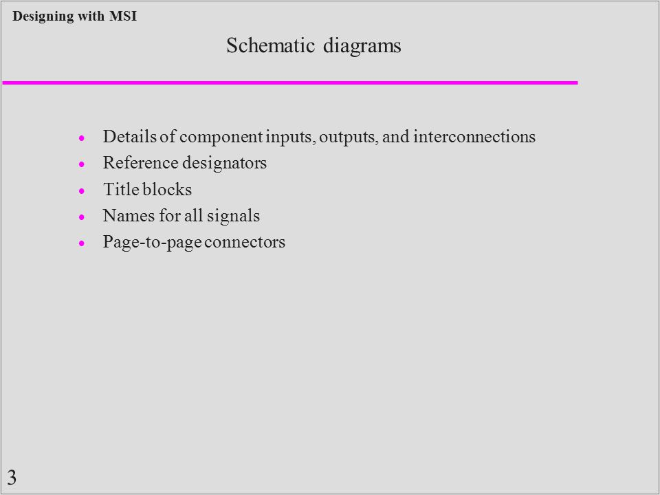 3 Designing with MSI Schematic diagrams  Details of component inputs, outputs, and interconnections  Reference designators  Title blocks  Names fo