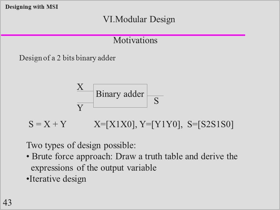 43 Designing with MSI VI.Modular Design Design of a 2 bits binary adder Motivations Binary adder X Y S S = X + YX=[X1X0], Y=[Y1Y0], S=[S2S1S0] Two typ