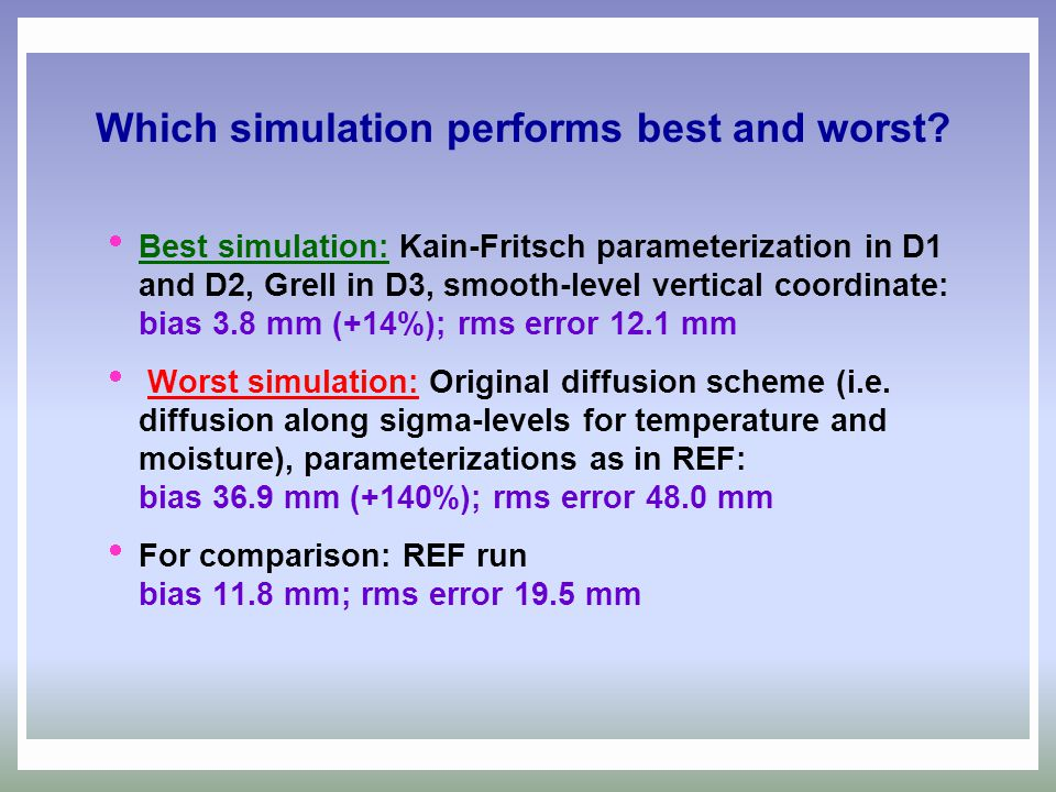 Which simulation performs best and worst?  Best simulation: Kain-Fritsch parameterization in D1 and D2, Grell in D3, smooth-level vertical coordinate