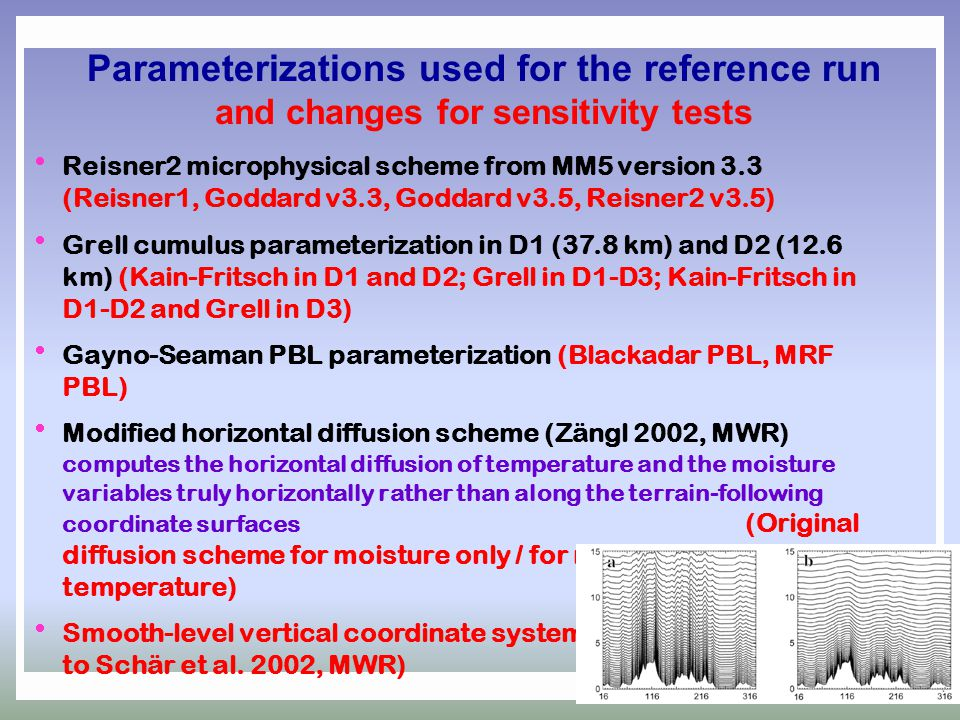 Parameterizations used for the reference run and changes for sensitivity tests  Reisner2 microphysical scheme from MM5 version 3.3 (Reisner1, Goddard