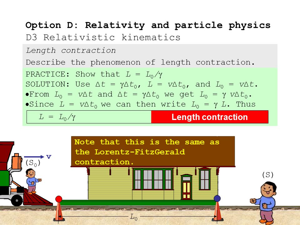 Length contraction Describe the phenomenon of length contraction.  As you watch the animation, note that both events occur directly opposite Dobson (