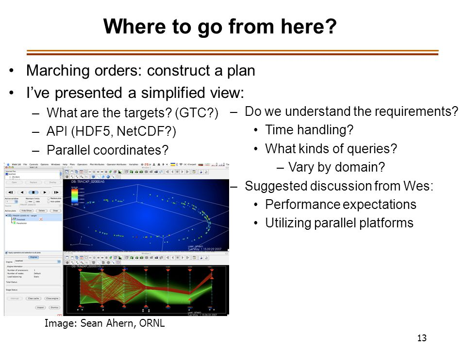 13 Where to go from here? Marching orders: construct a plan I've presented a simplified view: –What are the targets? (GTC?) –API (HDF5, NetCDF?) –Para