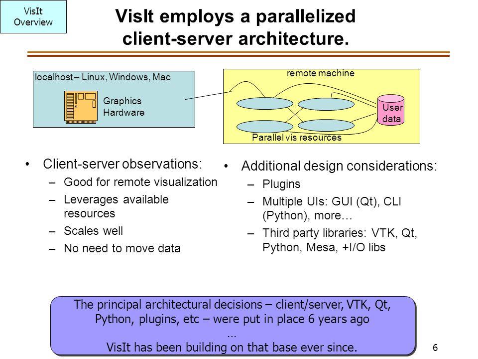 6 VisIt employs a parallelized client-server architecture.