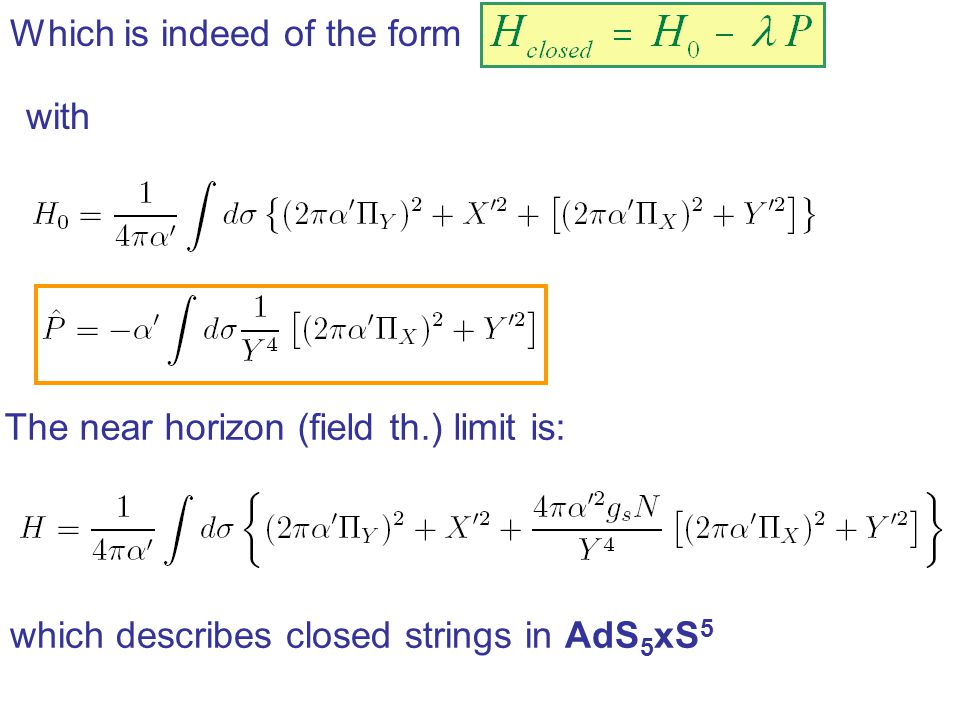 Which is indeed of the form with The near horizon (field th.) limit is: which describes closed strings in AdS 5 xS 5