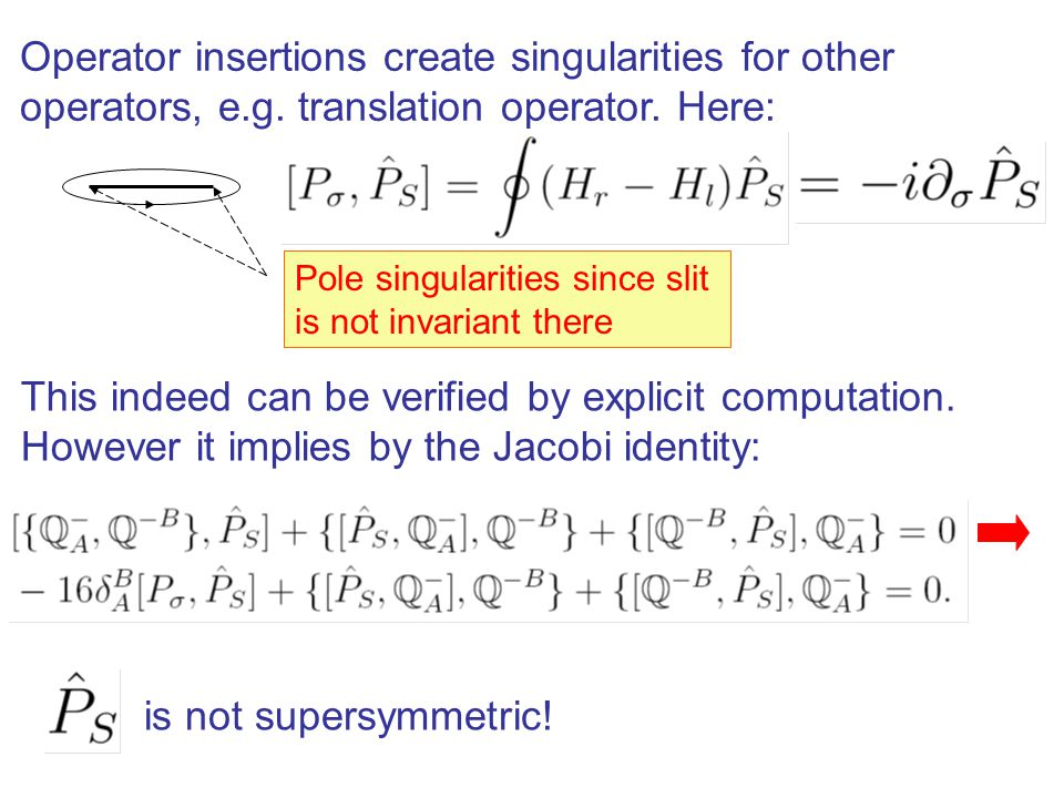 Operator insertions create singularities for other operators, e.g.