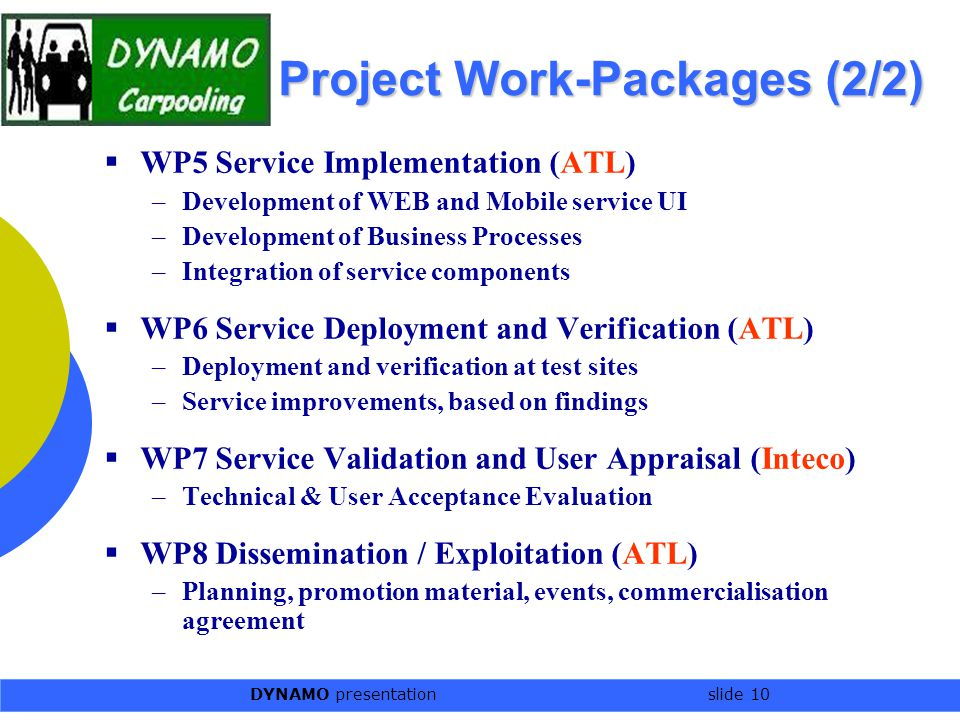 DYNAMO presentation slide 10 Project Work-Packages (2/2)  WP5 Service Implementation (ATL) –Development of WEB and Mobile service UI –Development of Business Processes –Integration of service components  WP6 Service Deployment and Verification (ATL) –Deployment and verification at test sites –Service improvements, based on findings  WP7 Service Validation and User Appraisal (Inteco) –Technical & User Acceptance Evaluation  WP8 Dissemination / Exploitation (ATL) –Planning, promotion material, events, commercialisation agreement