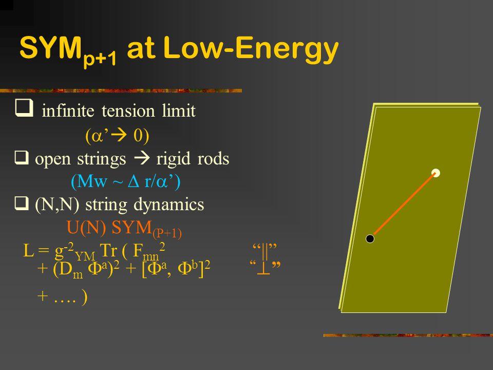 " infinite tension limit (  '  0)  open strings  rigid rods (Mw ~  r/  ')  (N,N) string dynamics U(N) SYM (P+1) L = g -2 YM Tr ( F mn 2 ""||"" +"
