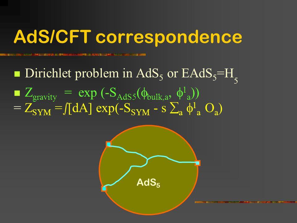 AdS/CFT correspondence Dirichlet problem in AdS 5 or EAdS 5 =H 5 Z gravity = exp (-S AdS5 (  bulk,a,  1 a )) = Z SYM = s [dA] exp(-S SYM - s  a  1