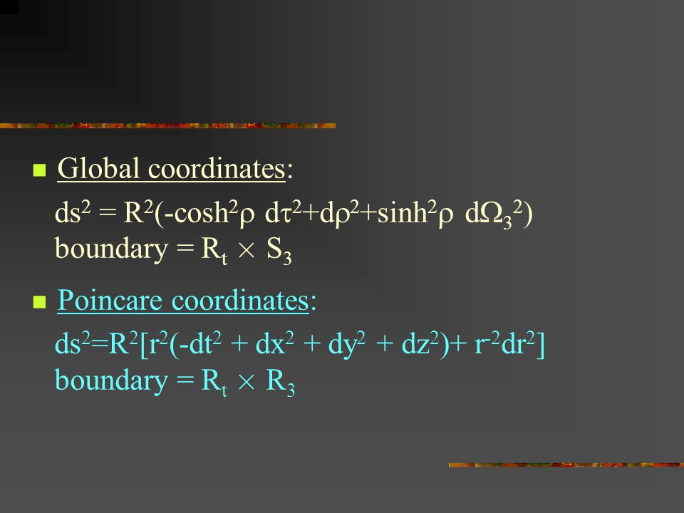 Global coordinates: ds 2 = R 2 (-cosh 2  d  2 +d  2 +sinh 2  d  3 2 ) boundary = R t £ S 3 Poincare coordinates: ds 2 =R 2 [r 2 (-dt 2 + dx 2 + d