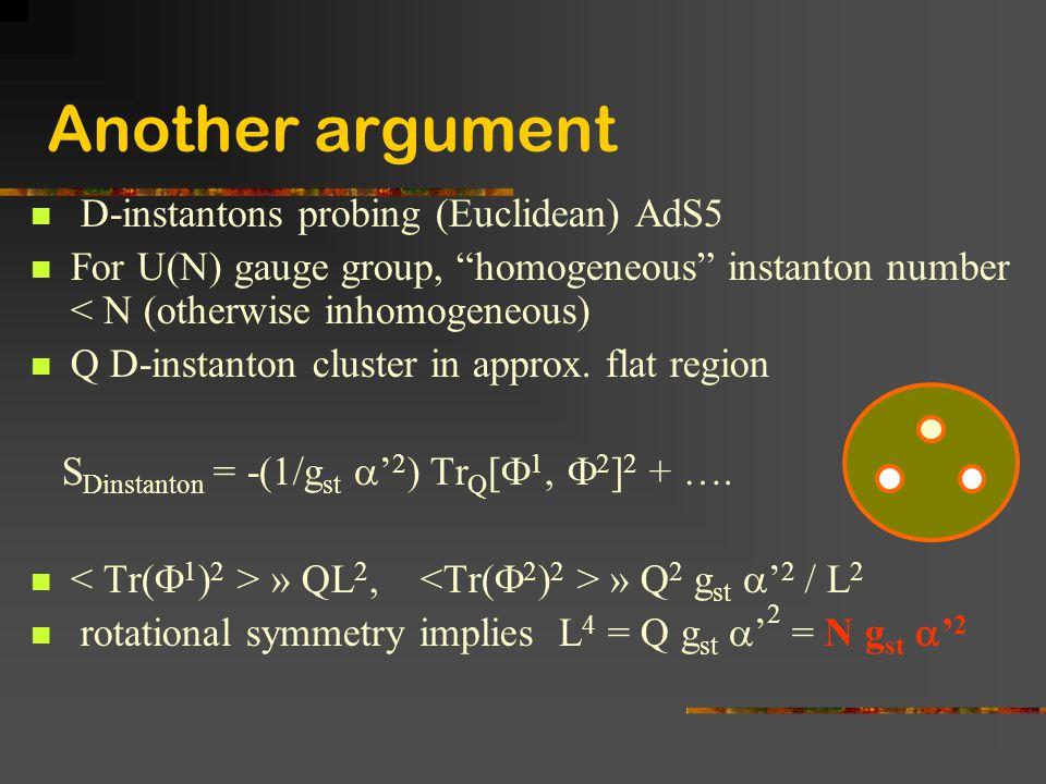 "Another argument D-instantons probing (Euclidean) AdS5 For U(N) gauge group, ""homogeneous"" instanton number < N (otherwise inhomogeneous) Q D-instanto"