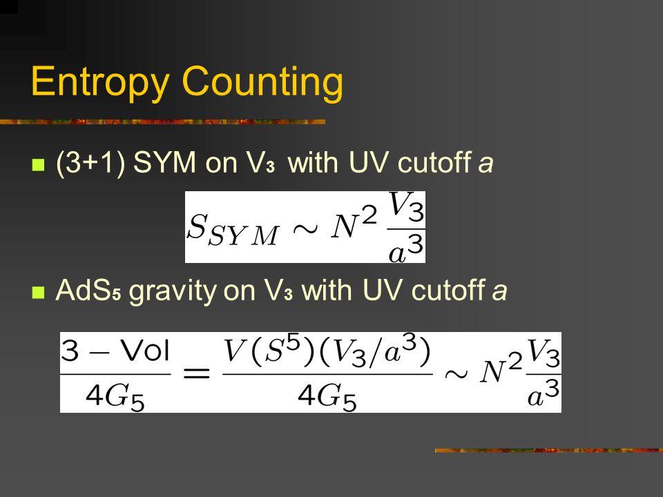 Entropy Counting (3+1) SYM on V 3 with UV cutoff a AdS 5 gravity on V 3 with UV cutoff a