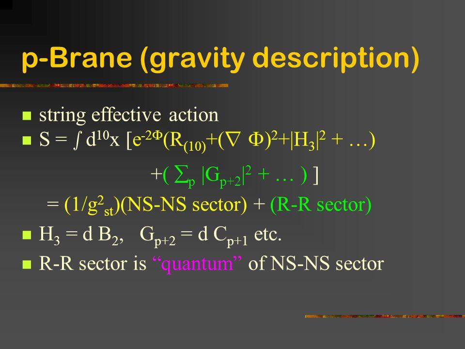 p-Brane (gravity description) string effective action S = s d 10 x [e -2  (R (10) +( r  ) 2 +|H 3 | 2 + …) +(  p |G p+2 | 2 + … ) ] = (1/g 2 st )(N