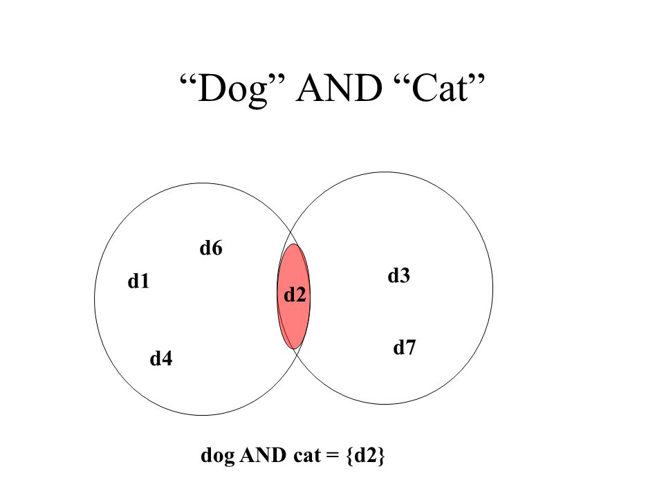 Dog AND Cat d1 d4 d6 d3 d7 d2 dog AND cat = {d2}