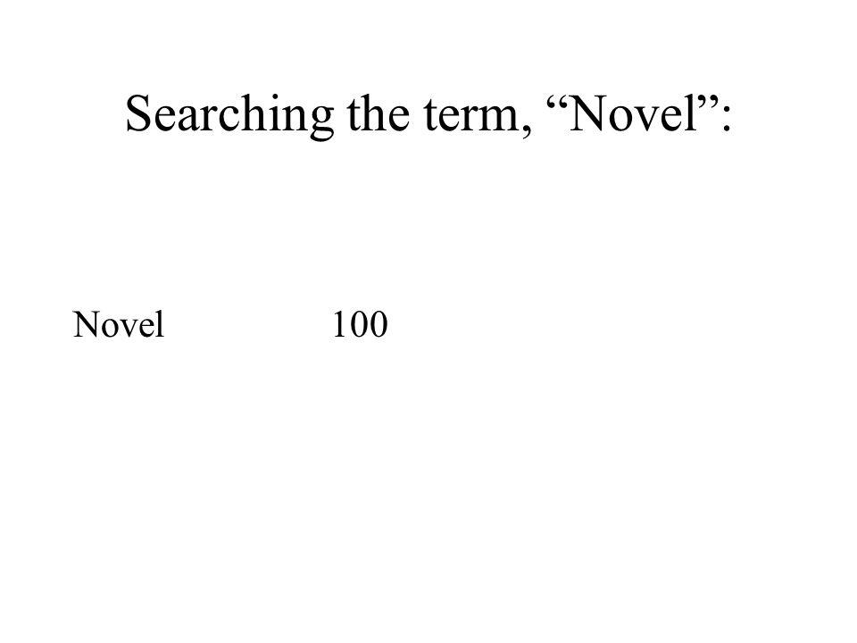 Searching the term, Novel : Novel100