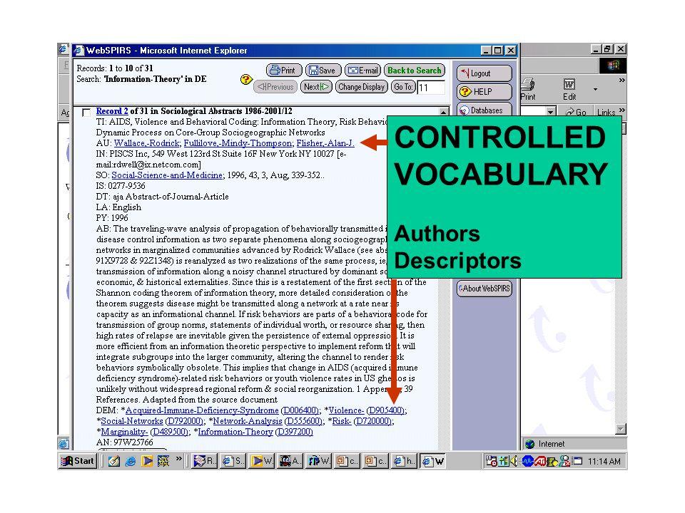 CONTROLLED VOCABULARY Authors Descriptors