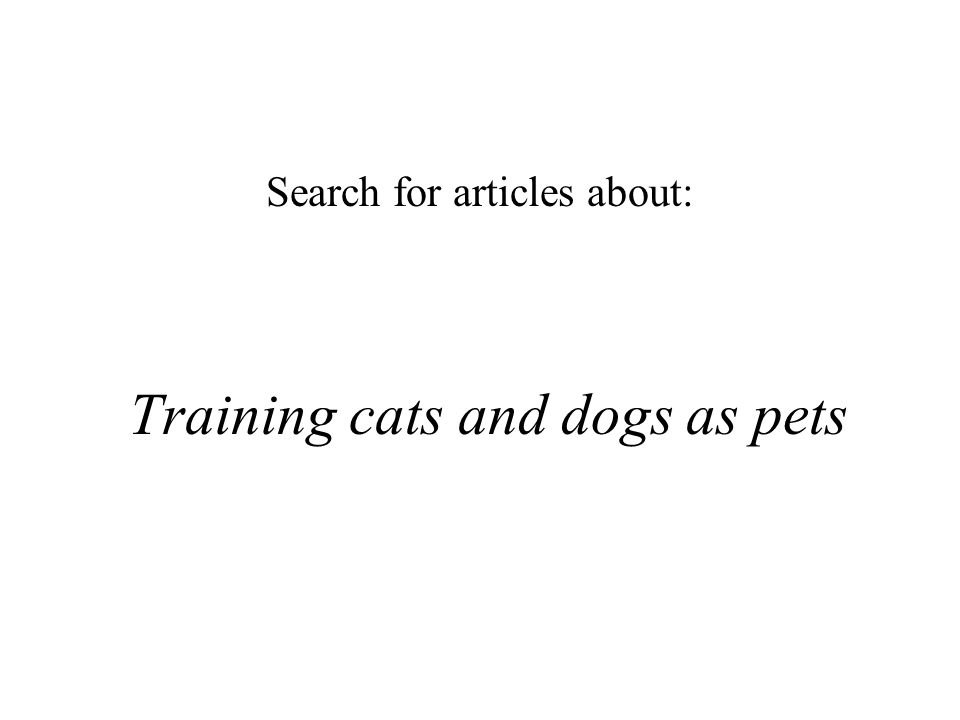 Training cats and dogs as pets Search for articles about: